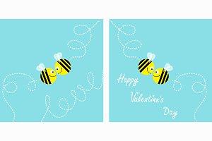 Happy Valentines Day Love card set.