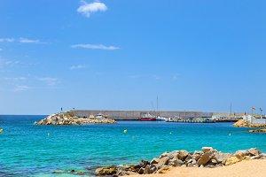 Coast of beach and seaport, resort