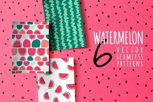 Watermelon vector seamless patterns