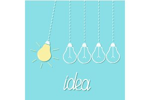Hanging yellow, colorful light bulb