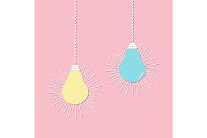 Hanging light bulb icon set.