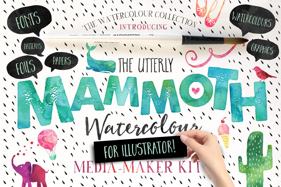 Mammoth Watercolour for Illustrator ~ Display Fonts
