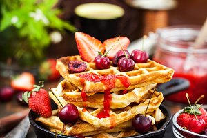 Belgian waffles with fresh berries a