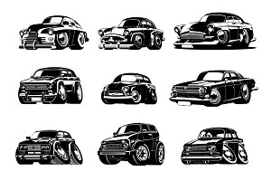 Vector Cartoon retro cars collection