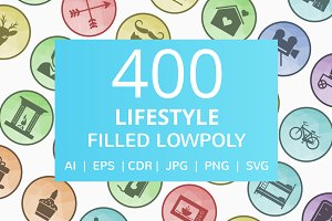 400 Lifestyle Filled Low Poly Icons