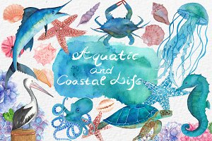 Watercolor Aquatic and Coastal Set