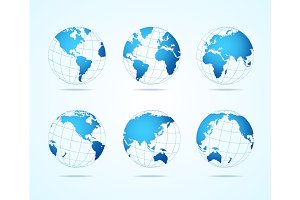 Map Globe Set. Vector