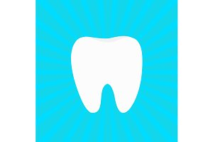 Healthy white tooth round icon