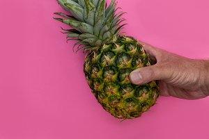 Pineapple fruit held in hand on pink