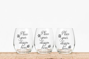 3 Stemless three wine glass mockups