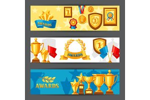 Awards and trophy banners.