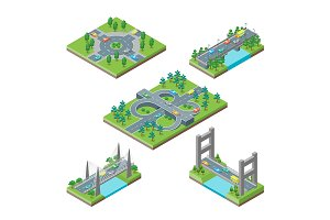 Bridges and Roads Icons Set