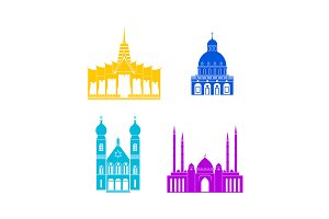 Churches and Temples Icon Set.