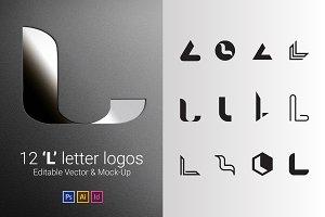 12 L Letter Logos - Vector & Mock-Up