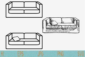 couch svg, sofa pillows set vector