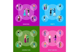 Isometric Dancing People Concept Set
