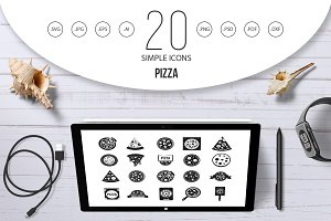Pizza icon set, simple style