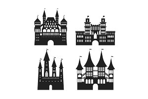 Medieval Old Castles  Set. Vector