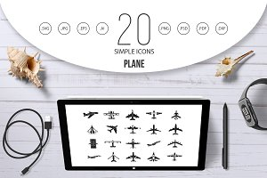 Plane icon set, simple style