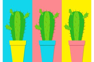 Cactus icon in flower pot icon set.