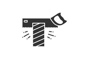 Tenon saw cutting plank glyph icon