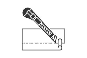 Stationery knife cutting paper icon