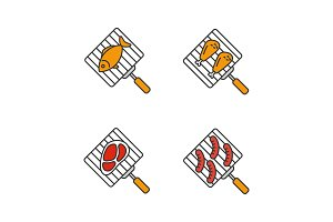 Barbecue color icons set