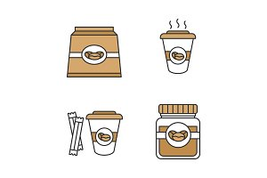 Coffee color icons set