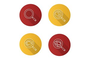 Frying pans icons set