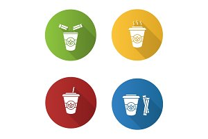 Tea drinks icons set