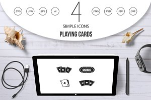 Playing cards icon set, simple style