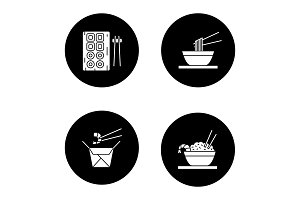 Chinese food glyph icons set
