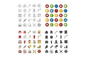 Firefighting icons sets