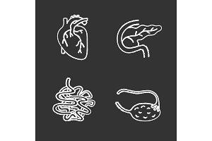 Internal organs chalk icons set