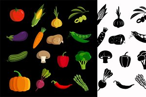 Vector vegetable colorful  icon set