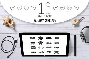 Railway carriage icon set, simple