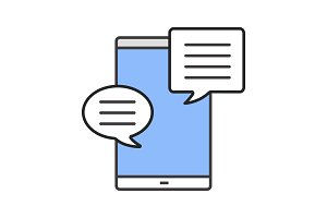 Smartphone with speech bubble icon