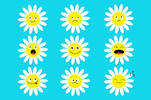 White daisy chamomile icon emoji set
