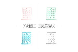Hospital hand drawn icons set