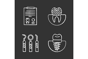 Dentistry chalk icons set