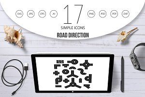 Road direction icon set, simple