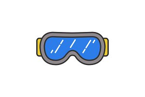 Ski goggles color icon