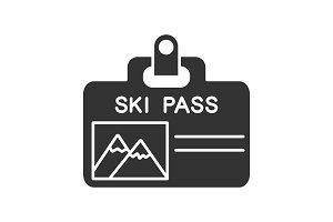 Ski pass badge glyph icon