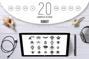 Robot icon set, simple style