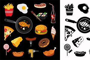 Modern food vector icon set
