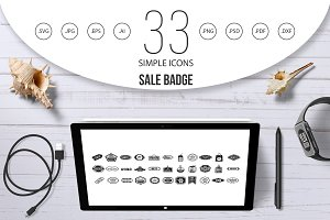 Sale badge icon set, simple style