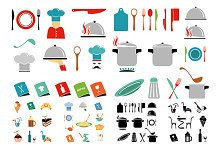 Kitchen vector icon set