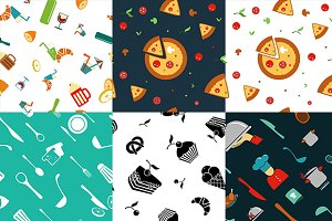 Kitchen seamless vector patterns