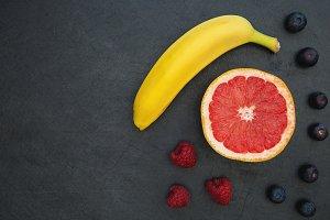 Fruit selection on dark background