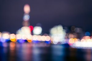 London blurred bokeh skyline night